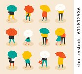 rainy day umbrella people... | Shutterstock .eps vector #615812936