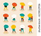 rainy day umbrella people... | Shutterstock .eps vector #615812936