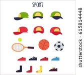 sport clothes and equipments...   Shutterstock .eps vector #615814448