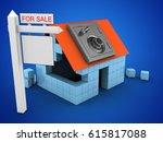 3d illustration of block house...   Shutterstock . vector #615817088