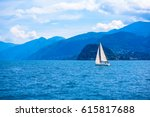 a sailing boat on beautiful... | Shutterstock . vector #615817688