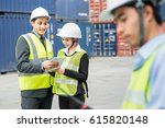 asia foreman control industrial ... | Shutterstock . vector #615820148