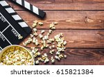 watching movie with popcorn on... | Shutterstock . vector #615821384