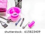 hairdresser working desk with... | Shutterstock . vector #615823409