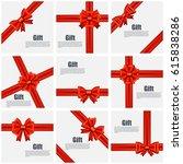 set flat gift card vector... | Shutterstock .eps vector #615838286