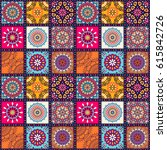 seamless mandalas pattern.... | Shutterstock .eps vector #615842726