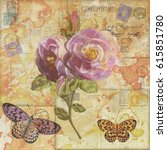 vintage background with flowers ... | Shutterstock . vector #615851780
