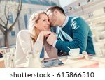 flirting in a cafe. beautiful... | Shutterstock . vector #615866510