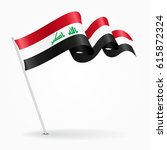 iraqi pin icon wavy flag.... | Shutterstock .eps vector #615872324