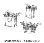 shopping bags and basket.... | Shutterstock .eps vector #615893510