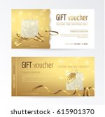 vector set of gift voucher with ... | Shutterstock .eps vector #615901370