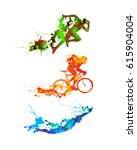 triathlon vector watercolor set.... | Shutterstock .eps vector #615904004