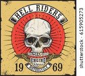 vintage print design of skull...   Shutterstock .eps vector #615905273
