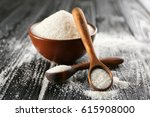 decorative spoons and bowl with ... | Shutterstock . vector #615908000