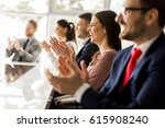 happy group of businesspeople... | Shutterstock . vector #615908240