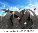 tangled  crowded  chaotic roads ... | Shutterstock . vector #615908858