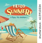 hello summer poster. summer... | Shutterstock .eps vector #615910334