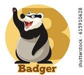 abc cartoon badger | Shutterstock .eps vector #615910628