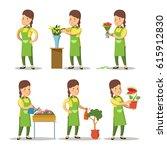 female florist cartoon set.... | Shutterstock .eps vector #615912830