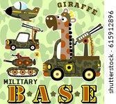 giraffe on military base with... | Shutterstock .eps vector #615912896