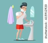 man shaving face with foam.... | Shutterstock .eps vector #615912920