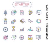 start up icons set. flat line... | Shutterstock .eps vector #615917096