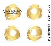 set of gold paint  ink brush... | Shutterstock .eps vector #615917798