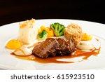 fine dining lamb meat steak... | Shutterstock . vector #615923510