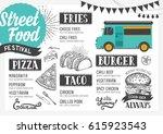 street food festival menu.... | Shutterstock .eps vector #615923543