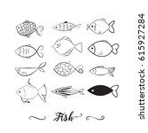 set of 12 hand drawn fishes.... | Shutterstock .eps vector #615927284