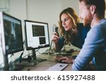 programmer working in a... | Shutterstock . vector #615927488
