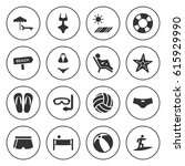 set of 16 beach filled icons... | Shutterstock .eps vector #615929990