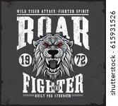 wild tiger roaring   fighter... | Shutterstock .eps vector #615931526