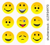 large vector set of 6 emoticons ... | Shutterstock .eps vector #615934970