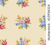 seamless floral pattern with... | Shutterstock .eps vector #615936314