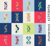dna icons set. collection of... | Shutterstock .eps vector #615938456