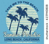 summer paradise  long beach ... | Shutterstock .eps vector #615940808