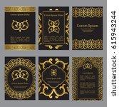 vector templates with mandala... | Shutterstock .eps vector #615943244