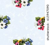 seamless floral pattern with... | Shutterstock .eps vector #615947090