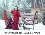 beautiful girl in a red dress...   Shutterstock . vector #615947906