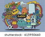 hipster hand drawn crazy doodle ... | Shutterstock .eps vector #615950660
