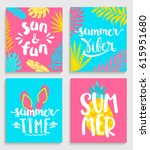 four bright summer cards  with... | Shutterstock .eps vector #615951680