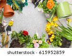 composition with flowers and... | Shutterstock . vector #615952859