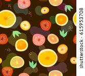 seamless pattern with oranges ... | Shutterstock .eps vector #615953708