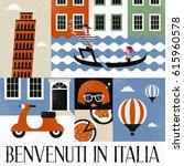 pop art style italy travel... | Shutterstock .eps vector #615960578