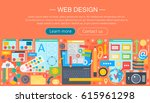 web design flat concept....   Shutterstock .eps vector #615961298