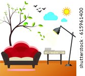 room and sofa interior  vector... | Shutterstock .eps vector #615961400