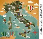 colorful italy travel map with... | Shutterstock .eps vector #615961703