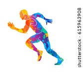 running  sprinter  athlete | Shutterstock .eps vector #615963908