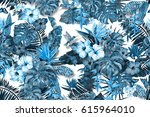 floral painting seamless... | Shutterstock . vector #615964010